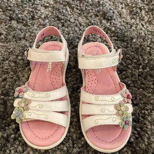 Girls Kid Express White Leather Sandals